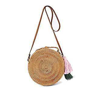 GTUFDRG Stroh Taschen Kreis Rattan Tasche Quaste Strandtasche Frauen Bohemian Handtasche
