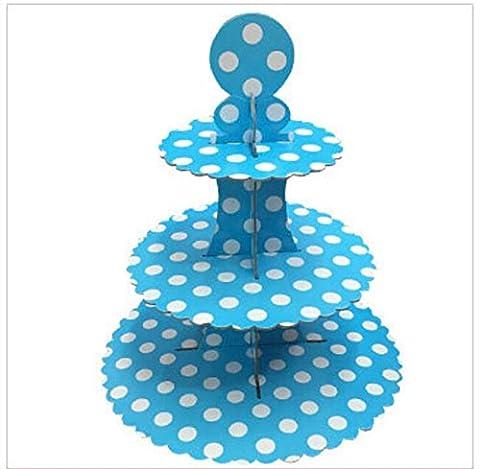 JZK® 2 x 3 Tier Blau Polka Dot Cupcake Ständer Abnehmbarer Kuchen Stehen Muffin Halter Dessert Tower, Dekoration Zubehör für Taufe Geburtstag Hochzeit Party (Blau)