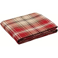 Red Tartan Check Bed Runner Throw, Woven Wool Look, 50cm x 240cm. From the McAlister Angus design range