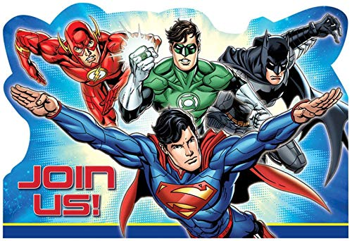 Justice League Invitations & Envelopes 8pk