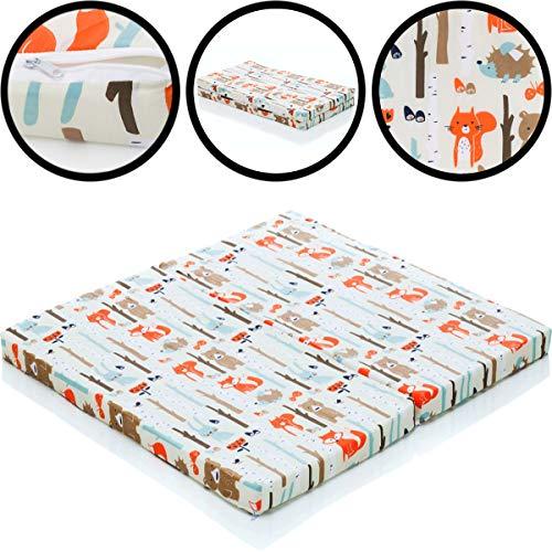 Matratze 100% Baumwolle für Laufgitter Laufstall Baby (100 x 90 cm) WALDTIERE