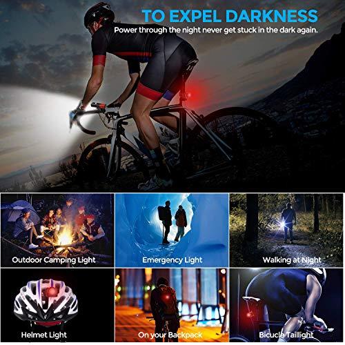 Maexus LED Fahrradlicht Set, StVZO Zugelassen USB Wiederaufladbare Fahrradbeleuchtung fahrradlichter Set