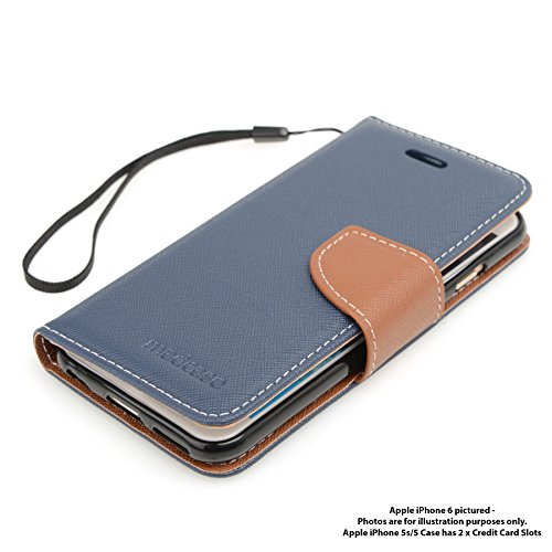 Genuine MadCase? Clear Transparent Ultra Thin Slim Crystal Back Cover Case for Apple iPhone 5 16GB 32GB 64GB - includes Screen Protector and Cloth Design Italien - Bleu & Marron