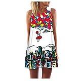 Elecenty Damen Ärmellos Sommerkleid Minikleid Strandkleid Partykleid Rundhals Rock Mädchen Blumen Drucken Kleider Frauen Mode Kleid Kurz Hemdkleid Blusekleid Kleidung (L, Rot 4)