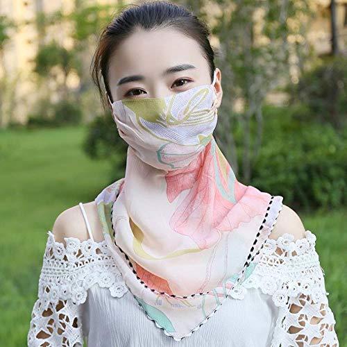 SHMAYU Sonnenschutzmaske weiblichen Sommer Dünnschliff Sonnenschutzschleier Vollgesichtsmaske atmungsaktive Maske Pulver große Blume
