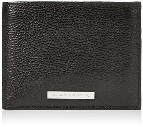 Armani Exchange Herren Trifold Credit Card Holder Geldbörse, Schwarz (Nero - Black), 2.5x12x9.4 cm -