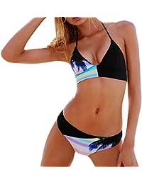 Covermason Mujer Push-up Acolchado Bra Bikini Trajes de baño Negro Tops y Azul Braguitas(1Conjunto)