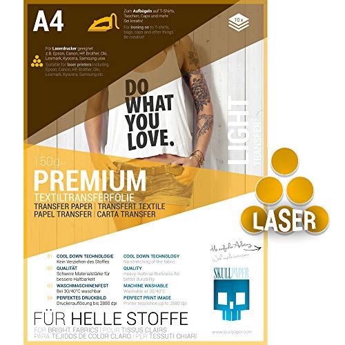 SKULLPAPER Premium A4 T-Shirt Tessile Transfer Film per tessuti di colore chiaro - incl. 200 + modelli di motivo gratis - per stampante laser (10 fogli)