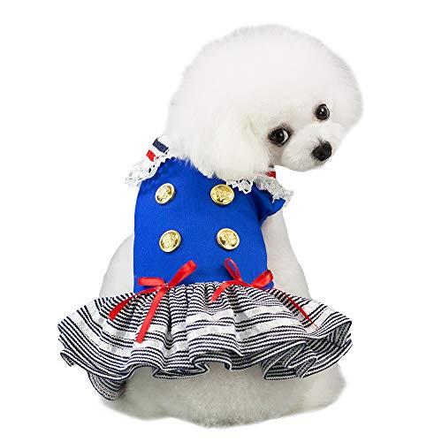 FLAdorepet, Costume da Marinaio per Cane, Gatto, tutù, Vestito da Festa, Gonna per Cani di Piccola Taglia, Camicia