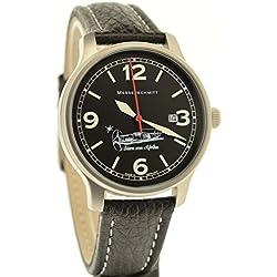 Messerschmitt Star of Africa Quartz ME-42Stern Aviator Watch Ronda Swiss Movement 5ATM with Dark Grey Leather Strap