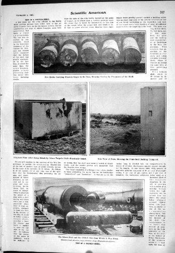 1905 Wissenschaftliche Amerikanische Druckmessgeräte Test-Torpedo-Shells Isham