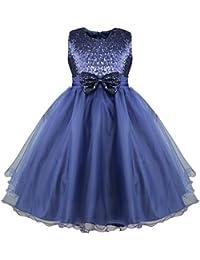 YIZYIF Vestido De Princesa con Lentejuelas Brillante Lazo sin Mangas Vestido Largo Boda Cumpleaños Fiesta para Niñas 2-14 Años