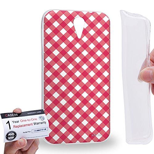 Case88 [HTC Desire 620] Gel TPU Hülle / Schutzhülle & Garantiekarte - Art Coloured Doodle Patterns Pink Checker Art1406 Checker Tpu Gel
