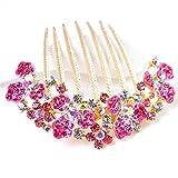 AdorabFitting Tocado de Novia Diadema Diamantes de imitación de alta calidad peines para el cabello pinzas para el cabello de diamantes color rosa oscuro