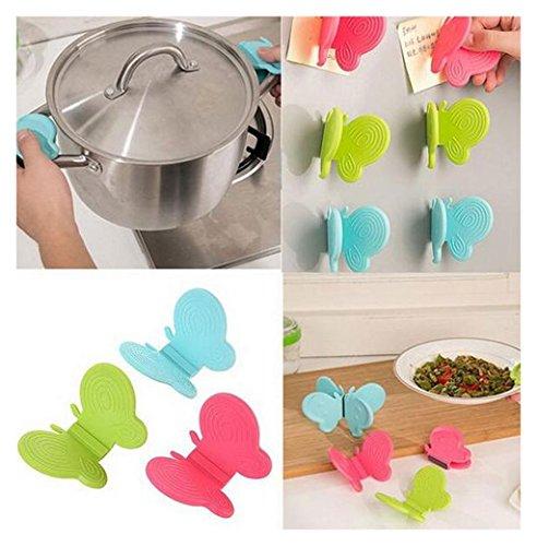 ouud Silikon Küche Verbrühungsschutz Topflappen Ofenhandschuh Hitzebeständig Kochen Fingerschutz Pinch grips-butterfly Form (4PCS, zufällige Farbe) -