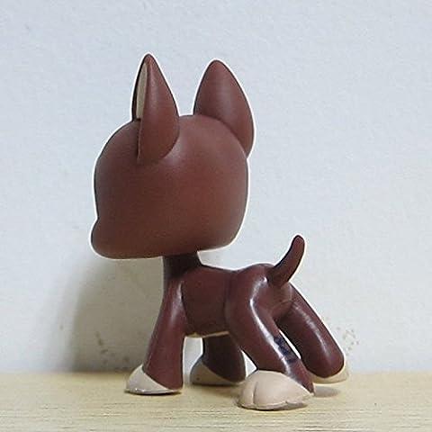 Porncharoen Littlest Pet Shop LPS Loose Toys Brown Great Dane Puggy Dog Green Eyes by Porncharoen