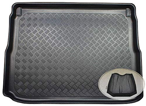 ZentimeX Z3327470 Geriffelte Kofferraumwanne fahrzeugspezifisch + Klett-Organizer (Laderaumwanne, Kofferraummatte)