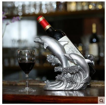 WENGKHF Sirène vin panier liqueur armoire casier à vin ornements ornements idées résine décoration salon Maison porte-bouteilles , dolphin - silver white