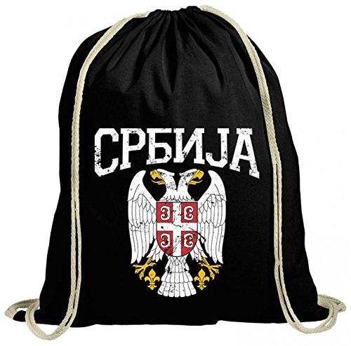 Serbien Wappen Premium Turnbeutel | Serbe | Belgrad | Balkan | Gymbag, Farbe:Schwarz...
