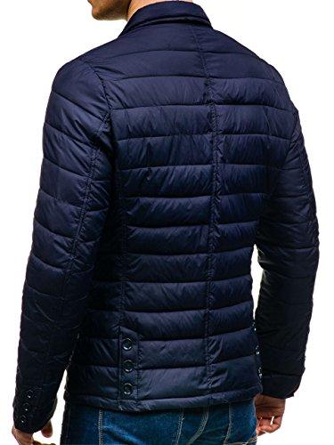 BOLF – Veste – Blouson – Bouton – Col haut – Casual – Motif – Homme [4D4] Bleu foncé
