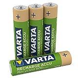 Varta Recharge Accu Recycled Ready-To-Use vorgeladener AAA Micro Ni-MH Akku (4er Pack, 800mAh, aus 11% recyceltem Material, wiederaufladbar ohne Memory Effekt)