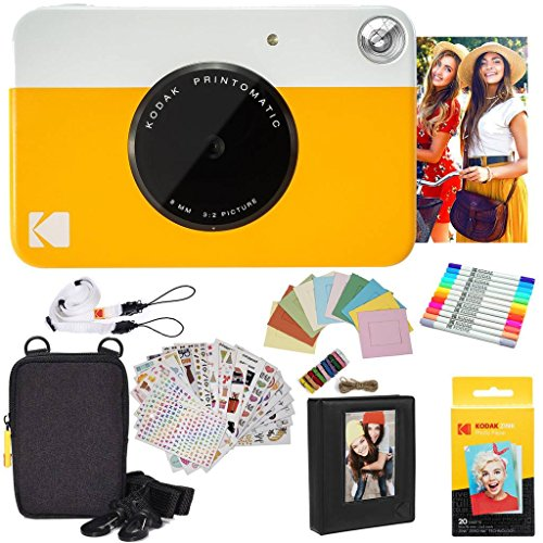 Kodak pacchetto regalo per fotocamera istantanea printomatic (gialla) + carta zink (20 fogli) + custodia deluxe + 7 divertenti set di adesivi + evidenziatori a doppia punta + album fotografico + cornici appendibili + comoda tracolla