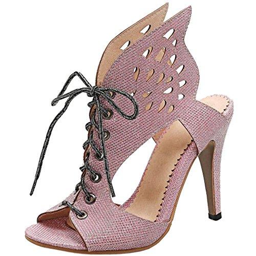 TAOFFEN Femmes Peep Toe Lacets Bottillons Sandales Aiguille Talons Hauts Creux Chaussures Rose