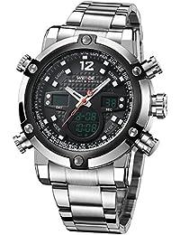 Alienwork DualTime Reloj Digital- Analógico Cronógrafo LCD Multi-función Metal negro plata OS.WH-5205G-01