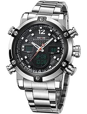 Alienwork DualTime Analog-Digital Armbanduhr Multi-funktion LCD Uhr Herren Uhren sport Chronograph Metall schwarz...
