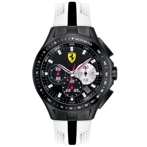 Ferrari 830026 - Reloj analógico de cuarzo para hombre, correa de silicona color blanco (cronómetro)