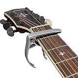 Muke en métal Guitare Capo Clamp léger à changement rapide en alliage de zinc pour corde de 4 et 6 cordes pour guitare acoustique, guitare électrique, guitare classique, ukulélé, banjo Capo (Argent)