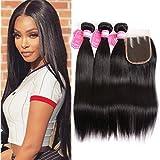 Brazilian Straight Hair Bundles With Closure Li&queen Silky Straight Virgin Hair 3 Bundles