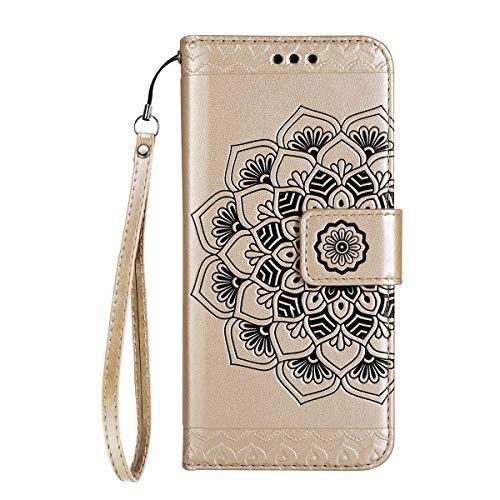 Yheng iPhone 7 Plus/8 Plus Coque, Fleur de Mandala Imprimé Étui Folio à Rabat Housse Cuir Portefeuille Magnétique Wallet Case avec Porte-Cartes Fonction Stand Livre Coque pour iPhone 7 Plus/8 Plus,Or