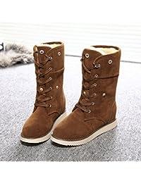 ZEARO Mujer Botas de Nieve Otono y Invierno Plano Botines Zapatos Calientes Botas Clásicas Mujer
