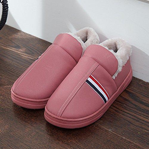 HOMEE Hiver Imperméable Pantoufles de Coton Couple Hommes Et Femmes Sac avec Maison DIntérieur Épais Maison Chaude Anti-Dérapant Peau rouge