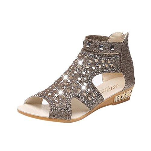 squarex Exquisite Spring Summer Damen Frauen Keil Sandalen Fashion Fisch Mund Hohl Roma Schuhe 3.5 UK/ Foot Length:23-23.5cm Gold(Style B)
