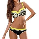 Bikinis Mujer,Dragon868 Además de Tamaño de Sostén Acolchado Bikini Set Beachwear para Mujeres (L, Amarillo)