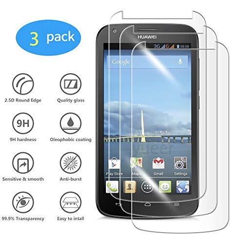 yueer [3 Pack Panzerglas Schutzfolie für Huawei Ascend Y600,[Anti- Kratzer] [Ultra Clear] Panzerglasfolie Bildschirmschutzfolie Folie für Huawei Ascend Y600.