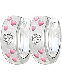 CLEVER SCHMUCK Silberne Kindercreole Ø 13 mm Optik Vorderseite eismatt mit 6 kleinen Herzen in rosa pink lackiert und Zirkonia weiss Rückseite glänzend STERLING SILBER 925