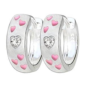 Clever Schmuck Silberne Mädchen Creole Ø 13 mm Optik Vorderseite seidenmatt mit 6 kleinen Herzen in rosa pink lackiert und Zirkonia weiss Rückseite glänzend STERLING SILBER 925