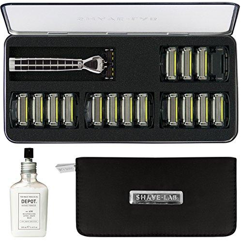 Player Travel Kit (SHAVE-LAB Big Player Set Nassrasierer Kit Schwarz für Männer mit Luxus Griff und 28x 4 Klingen 1x Depot No. 408 1x wasserdichten Tasche)