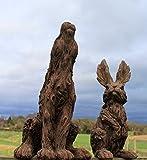 Paire de lièvre et lapin Animal Sculpture d'extérieur effet bois Décorations de jardin...