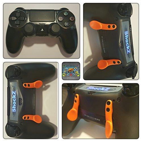 PS4 Controller - ShockZ Controller Umbau - Triggerstop - X&O Buttons - Paddel - Playstation 4 - Schwarz mit Orangenen Paddel
