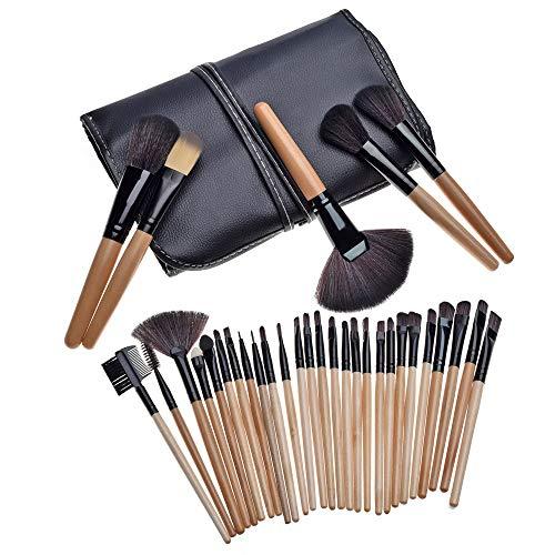 Make-up Pinsel Make-up Pinsel Set 32   STÜCKE Natürliche Synthetische Borsten Holzgriff Eyeliner Lidschatten Puder Erröten Lippenstift Make-up Pinsel (Color : 03, Size : Kostenlos) (32pcs Make-up Pinsel Mit Tasche)