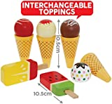 Wooden Ice Cream Cones and Lollies Pretend Play Set, Magnetic Swappable Pieces for Ice Creams