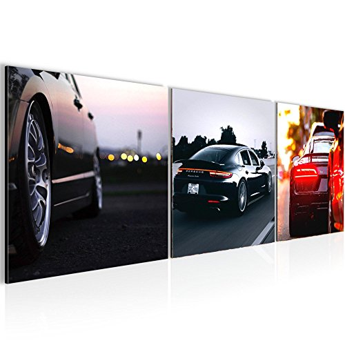 Bild 120 x 40 cm - auto Bilder- Vlies Leinwand - Deko für Wohnzimmer -Wandbild - XXL 3 Teile Teile - leichtes Aufhängen- 806633a