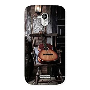 Enticing Old Guitar On Chair Back Case Cover for Micromax Canvas HD A116
