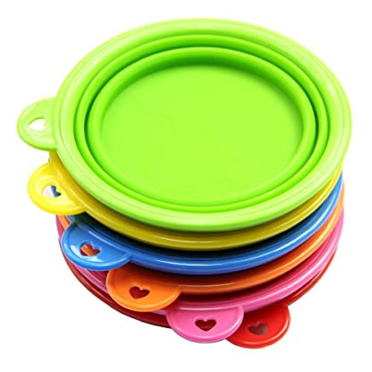 HeroNeo® Dog Cat Pet Portable Silicone Collapsible Travel Feeding Bowl Water Di. 3