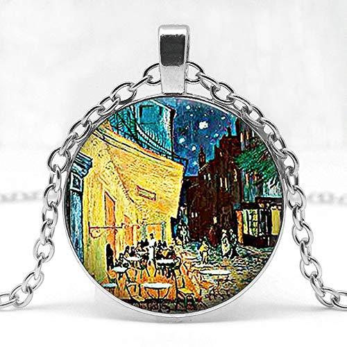 Herren Halskette Van Gogh Cafe Terrasse Kunst Anhänger Kunst Glas Cabochon Schmuck Bistro Restauranteur Geschenk Lange Kette Frau Halskette -