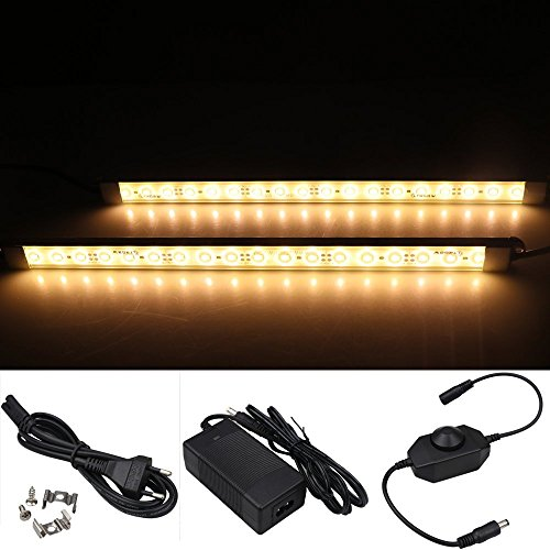 LTRGBW 5730 SMD 12 V 7,2 Watt 18 LEDs Warmweiß LED Aluminium Starre Streifen Bar Licht Wasserdicht IP67 mit Netzteil Dimmer (2-Pack 30 cm) -